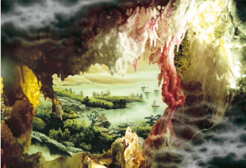 H.H.第三世多杰羌佛藝術西畫欣賞- A Beautiful World Discovered From a Cave 別有洞天