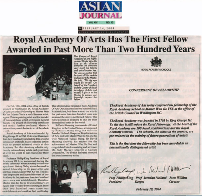 Royal Academy Of Arts awarded Fellowship to Master Wan Ko Yee (H.H. Dorje Chang Buddha III)